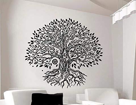 Pegatina pared vinilo arbol de la vida para cabecero pared cristal dormitorios salones color negro original, practico y decorativo 42 x 48 cm de CHIPYHOME