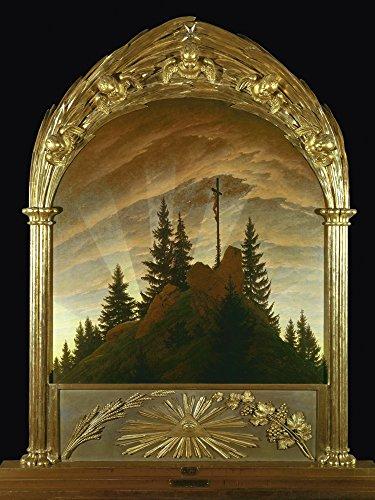 Artland Qualitätsbilder I Bild auf Leinwand Leinwandbilder Wandbilder 60 x 80 cm Fantasy Mythologie Religion Christentum Foto Braun B4CG Das Kreuz im Gebirge 1808