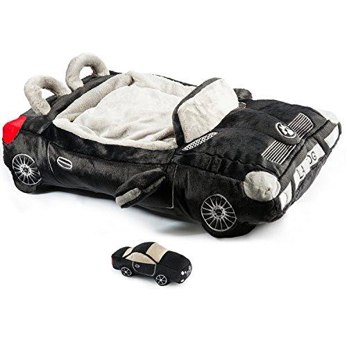 Haute Diggity Hundebett fürs Auto, mit Passendem Quietschspielzeug aus Plüsch, weich, stilvoll, bequem, Schwarz