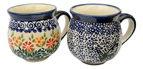 hand-decorated-polish-pottery-manu-faktura-set-k-090-hmot-js14-ball-cup-pair-95-cm-cobalt-blue-2-uni