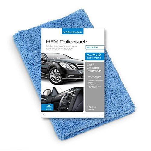 POLYCLEAN Auto-Poliertuch / HFX-Hochglanz-Tuch im riesigen XXL-Format (60x40 cm) / Aus super softer, extra langfloriger Microfaser P-9000® HD / Silikonfreie Ultraschall-Kante / Autopflege für Profis! (1)