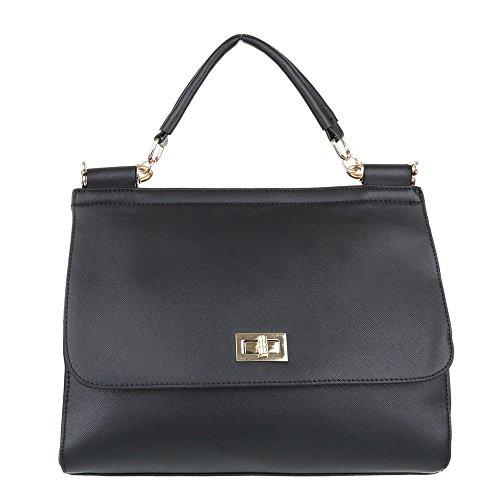 iTal-dEsiGn Damentasche Mittelgroße Schultertasche Handtasche Kunstleder TA-A122 Schwarz
