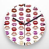 Reloj de pared 30 cm con ilustración estampado labios rojo morado fondo blanco