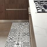 ALFOMBRA DE COCINA antideslizante e ignífuga. Se limpia fácilmente con una fregona. ¡Instala un bonito suelo hidráulico de estilo modernista sin hacer obras! . Eclectic Grey 60x140cm.