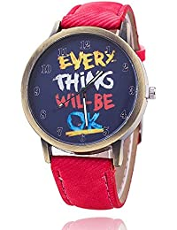 Unisex reloj de pulsera Everything will be OK dígitos Alt Oro jeansband Rojo