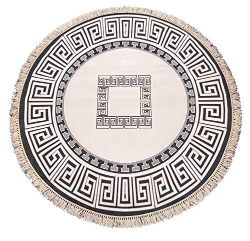 Ilkadim - Alfombra Redonda con Flecos (160 cm, Terciopelo Suave, Antideslizante), Anthrazit Creme 1038, 160 cm