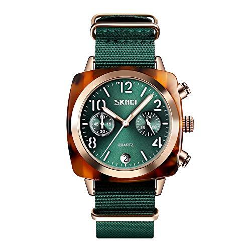 Damenuhren Quadrat Bernstein Lünette 2 Sub-dials Chronograph Kalender Analog Armbanduhren für Unisex Nylonband Casual