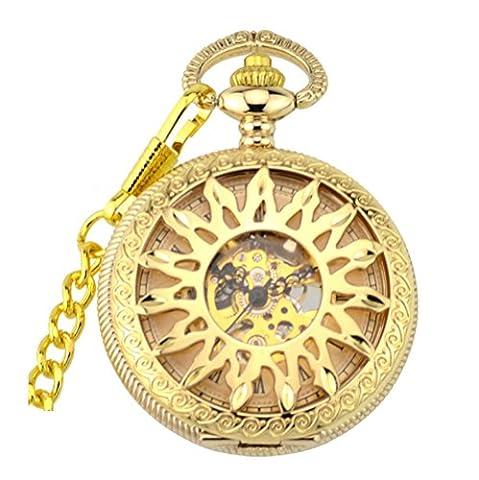 JIA&YOU Poche m¨¦canique r¨¦tro flip creux creux flamme or poche collier dames et hommes montres