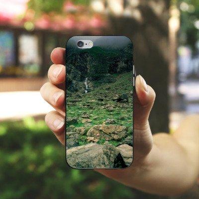Apple iPhone X Silikon Hülle Case Schutzhülle Wasserfall Gebirge Felsen Silikon Case schwarz / weiß