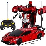 Gflyme Bumblebee Rambo Voiture télécommandée en 1 clic Déformation Télécommande Robot de déformation Robot King Kong Geste Induction Déformation Voiture Jouet (Color : Red)