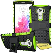 LG G4 Funda, FoneExpert® Heavy Duty silicona híbrida con soporte Cáscara de Cubierta Protectora de Doble Capa Funda Caso para LG G4 + Protector Pantalla (Green)