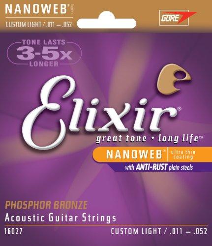 Elixir 16027 - Juego de cuerdas para guitarra acústica de fósforo/bronce, 0.011 - 0.052