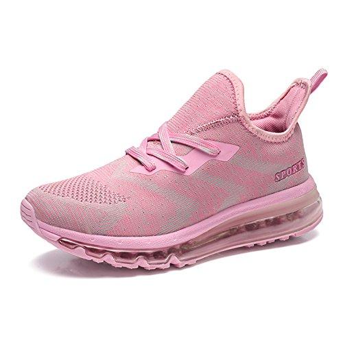 MIMIYAYA Unisex Herren Damen Sportschuhe Laufschuhe Bequeme Air Laufschuhe Schnürer Running Shoes Mode und Freizeit PINK37