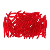 #9: Segolike 50 Pieces 3.5cm/1.4inch Soft Simulation Earthworm Worms Artificial Fishing Lure Tackle Soft Bait Lifelike Fishy Smell Lures Red