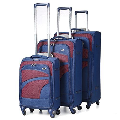 Aerolite Leichtgewicht 4 Rollen Trolley Koffer Kofferset Gepäck-Set Reisekoffer Rollkoffer Gepäck, 3 Teilig, Marineblau/Pflaume