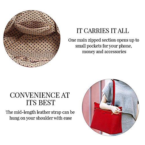TrendStar Frauen Designer Taschen Patent Schulter Berühmtheit Stil Trage Damen Mode Handtaschen (C - Rot) C - Kaffee