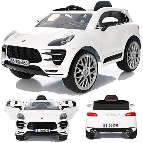 *Porsche Macan Turbo viele LED Effekte Soft Start Kinderauto Kinderfahrzeug Kinder Elektroauto Weiss*