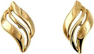 Lucchetta Gioielli d'Oro per Donna - Orecchini in Oro Giallo 14 carati a lobo piccoli a forma di Onda - Made in Italy Certificato, BR1789