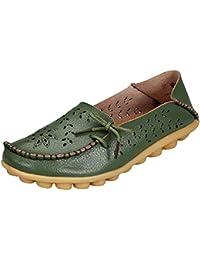 Juleya Mocasines Mujer Zapatos Verano Plano Comodidad Hueco Slip-on Zapatos del Barco Moda Loafers