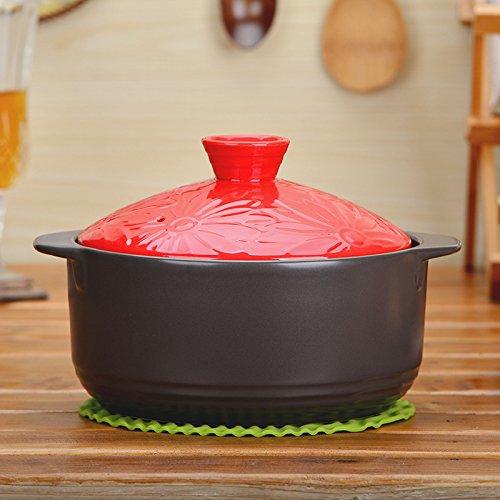 MEICHEN Casseruola di casa cucina high-end casseruola in ceramica cinese piatto resistente al fuoco ad alta temperatura secca indeiscenti antiaderente riso noodle , red cap , 2.2l