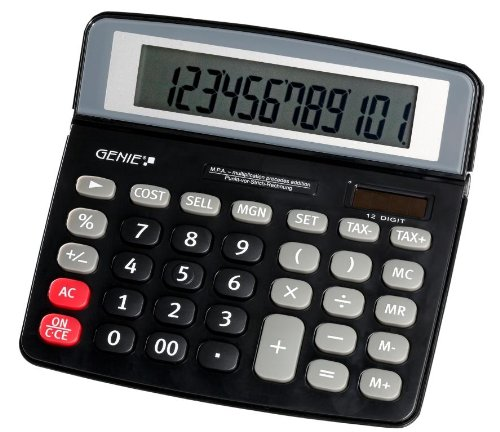 Genie MPA 12-stelliger Tischrechner (Inkl. Punkt vor Strich Rechnung, Dual-Power (Solar und Batterie)) schwarz