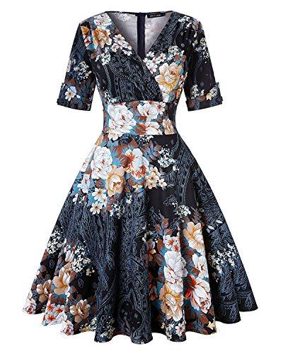 MINTLIMIT Damen Classy Vintage Floral Hepburn Stil 1940\'s Rockabilly Abendkleid (Floral Schwarz,Größe M)