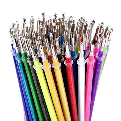 Glitter Gel Pen Refills von Color Technik, Set von 80Glitter und Neon Glitter, keine Duplikate, 40% mehr Tinte als Standard Nachfüllungen. größten Glitzer auf Amazon Refill Set, ungiftig, säurefrei, bleifreies
