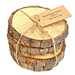 Casa Décor Large Natural Mango Tree Bark Wooden Coasters with Hemp Tie -5 inch, Brown
