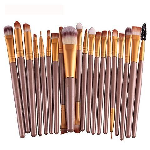JUNGEN 20 Pcs Mini Pinceau de Maquillage Cosmétique Ensembles Outils Rose+Café