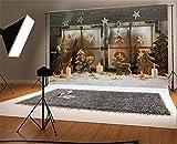 YongFoto 3x2m Vinile Sfondo Fotografico Natale Albero di legno delle renne Candele Golden Shabby Snow Shabby Window Fondale Foto Festa Bambini Boby Nozze Adulto Partito Studio Fotografico Puntelli