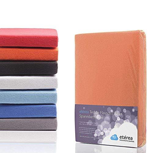 #1 Etérea Teddy Flausch Kinder-Spannbettlaken, Spannbetttuch, Bettlaken, 18 Farben, 60x120 cm - 70x140 cm, Orange