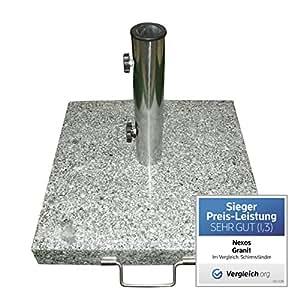 Nexos Schirmständer Sonnenschirmständer Granit eckig 45x45cm Steindicke 5cm ca. 25kg Edelstahlrohr Griff Rollen grau