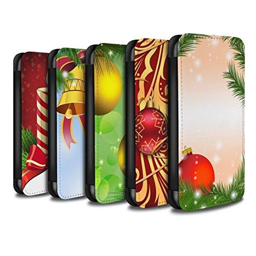 STUFF4 PU-Leder Hülle/Case/Tasche/Cover für Apple iPhone 8 Plus / Pack 9pcs Muster / Weihnachts Dekoration Kollektion Pack 9pcs