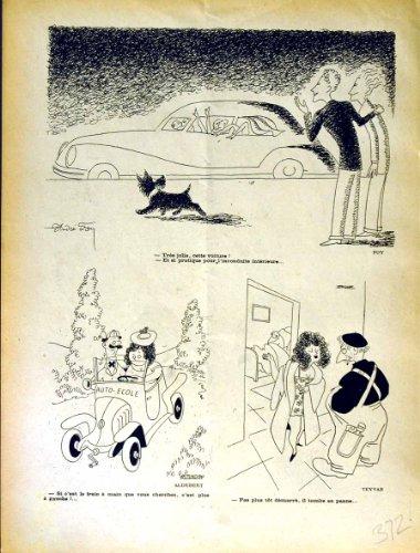 Impresión Antigua de la Revista Francesa del Humor de Rire de la Casa del Coche de Motor (la Risa)