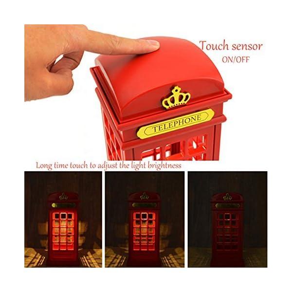 Gosear/®Lampe Touch Sensor Cabine T/él/éphonique de Londres Vintage Con/çu USB charge LED Table Bureau Veilleuse Luminosit/é R/églable Pour Chambre /étudiants Dortoir Bar D/écoration Birthday Gift