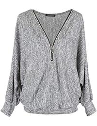 Emma & Giovanni - Pullover T-Shirt Oversize Verschluss Zip (Made In Italy) - Damen