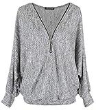 Emma & Giovanni - Pullover/T-Shirt Oversize - Damen (Grau, S/M)