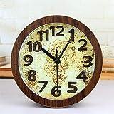 Olydmsky Standuhren analog Retro-Nautische Karte Stereo Machen alte Holz Uhr kreative Zahlentabelle Uhr Tabelle 12 * 12cm