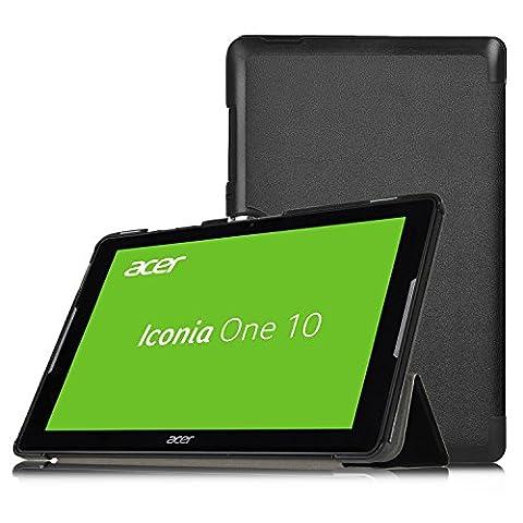 Acer Iconia One 10 B3-A30 Hülle, IVSO Ultra Schlank Superleicht Ständer Slim Leder zubehör Schutzhülle für Acer Iconia One 10 (B3-A30) 25,7 cm (10,1 Zoll HD) Tablet-PC perfekt geeignet (Schwarz)