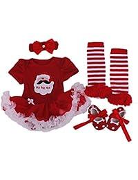Vestidos de Princesa Navidad Fiesta Conjunto Infantil para Bebé Niña Recién Nacidos Tutu vestido + Banda + Zapatos + Calcetines 4 pcs, 0-18 Meses Mainaisi