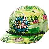 Bob Esponja - gorra de visera plana con Bob y Patricio - de la serie de Nickelodeon, con diseño original y tropical de Hawái en tono neón, imagen bordada, multicolor