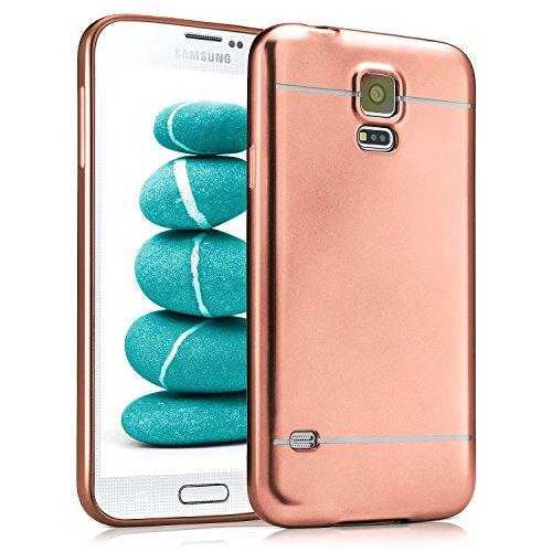 Samsung Galaxy S5 Hülle Silikon Rose-Gold [OneFlow Smooth Back-Cover] Chrom Matt Silikonhülle Ultra-Slim Schutzhülle Metallic Handy-Hülle für Samsung Galaxy S5 / S5 Neo Case Dünn (Samsung Galaxy S5 Cases Für Mädchen)