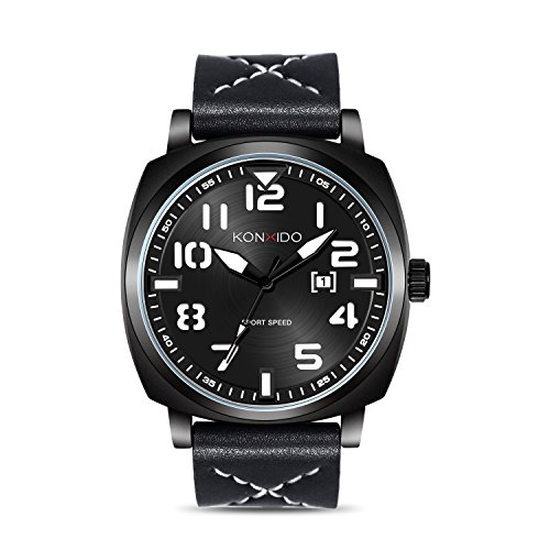 KONXIDO Schwarz Herrenuhren mit Datumsanzeige Mode Sport Quarzuhr Männer Luxus Klassische Business Casual Wasserdichte Uhr mit Lederarmband