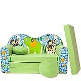 Z16 S Minicouch Kindersofa Kinder Baby Sofa Set Kindersessel Sitzkissen Matratze weich gemütlich Velours (Z16 grün Afrika)