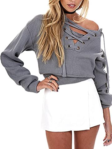 Simplee Apparel Loose Women's Autumn Winter Casual Kintted Sweatshirt Lace