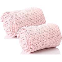 Par de 100% puro algodón celdas Baby–Manta para bebé carro Cuna Cama Moses cesta Belén en azul rosa o Blanco