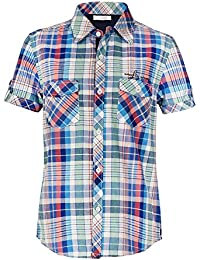 Naughty Ninos Boys Cotton Blue Checkered Short Sleeve Shirt For 2 to 14 Years