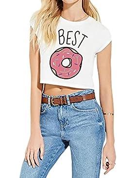 Hibote Best Friends Tshirt Camiseta Cómoda camisa de algodón 100% Rey Casual Blusas de cuello redondo trajes impresión...