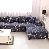 HYSENM 1/2/3/4 Sitzer Sofabezug Sofaüberwurf Stretch weich elastisch farbecht Blumen Muster, Grau 3 Sitzer 190 230cm