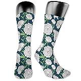vnsukdlfg Medium long Crew Socks,Floral,Romantic Nocturnal Concept of Freshly Bloomed Peony Flowers,Unisex 15.7',Eggshell Fern Green and Night Blue